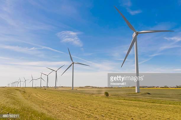germany, schleswig-holstein, view of wind turbine in fields - schleswig holstein stock-fotos und bilder