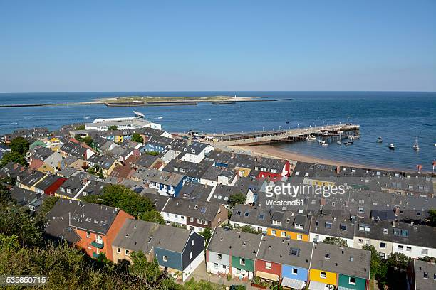 germany, schleswig-holstein, view over helgoland to duene island - helgoland stock pictures, royalty-free photos & images