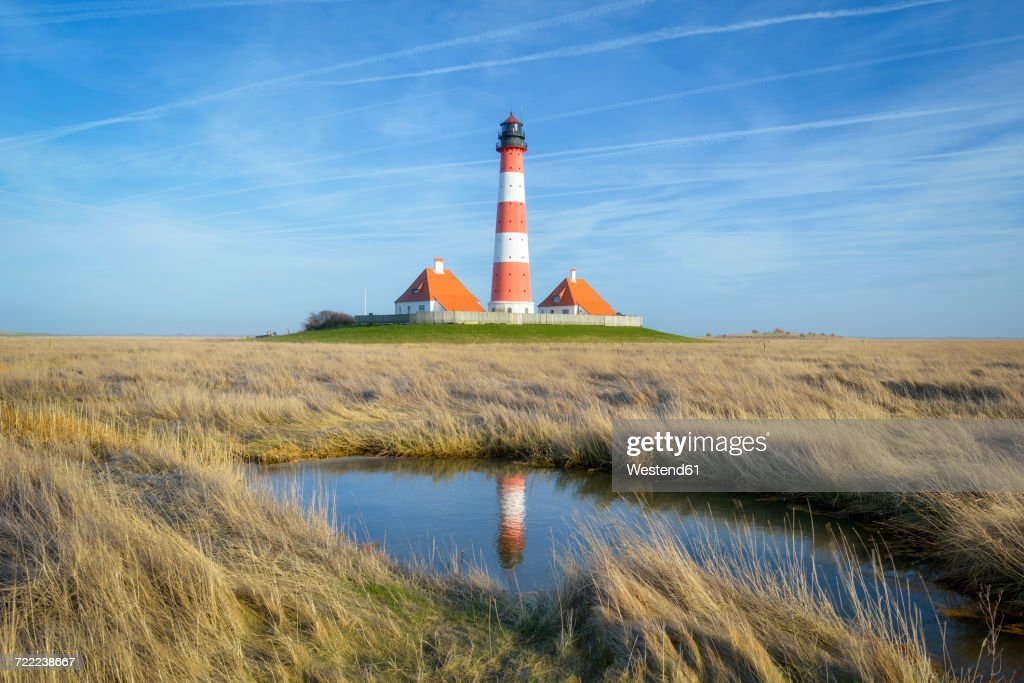 Germany, Schleswig-Holstein, Westerheversand Lighthouse : Stock Photo