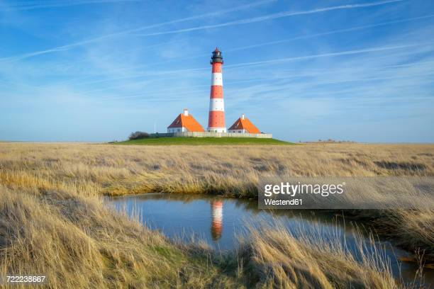 germany, schleswig-holstein, westerheversand lighthouse - schleswig holstein stock photos and pictures