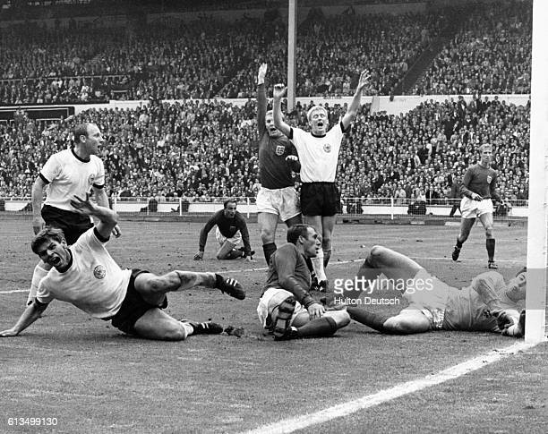 Germany score a goal in the last seconds of fulltime in the World Cup Final against England in 1966 The goal put the teams level at 22 In extra time...