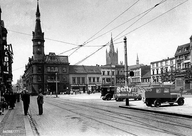 Germany Silesia Beuthen City hall and Church St Mary Picture taken by Transocean 1931