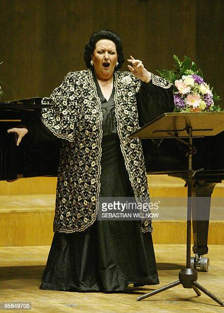 Spanish opera soprano Montserrat Caballe performs late 03 October 2005 in the Gewandhaus concert hall in Leipzig, where Caballe started her German...