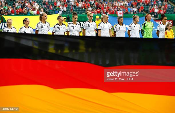Germany stands together prior to the FIFA U20 Women's World Cup Canada 2014 Quarter Final match between Germany and Canada at Commonwealth Stadium on...