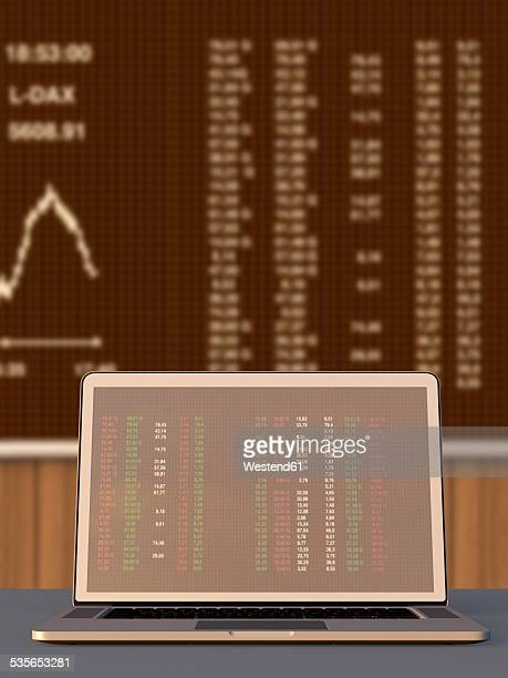 Germany, Stock exchange trading, Laptop in the foreground