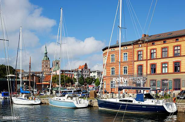 Germany, Stralsund, sailboats in harbor