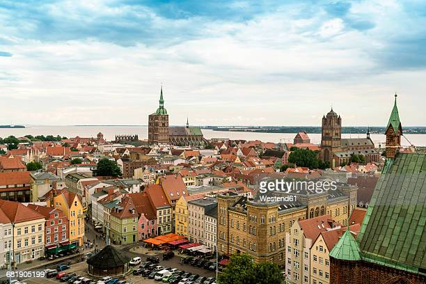 Germany, Stralsund, view to the historic old town with St. Nicolai and St. James Church