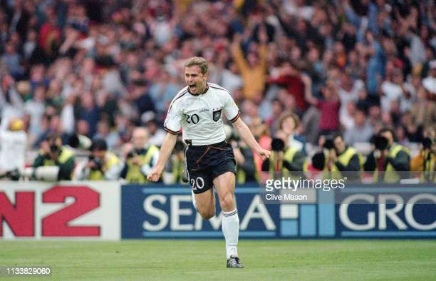 Germany striker Oliver Bierhoff celebrates after scoring the Golden Goal to win the 1996 UEFA European Championships Final against Czech Republic by...