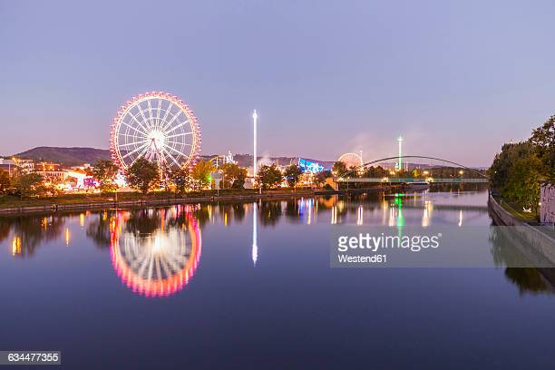germany, stuttgart, cannstatter wasen fairground in the evening - stuttgart stock pictures, royalty-free photos & images