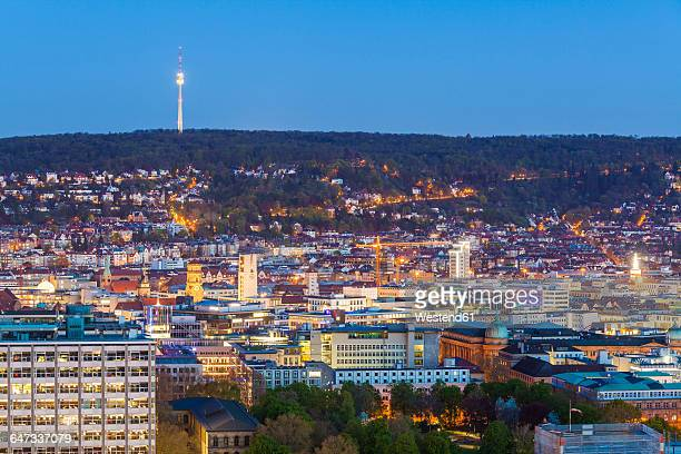 Germany, Stuttgart, cityscape with TV tower in the evening, blue hour