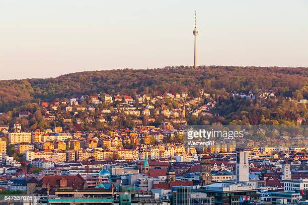 germany, stuttgart, cityscape with tv tower in the evening - stuttgart stock pictures, royalty-free photos & images