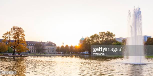 germany, stuttgart, neues schloss and jubelee column seen from lake eckensee - stuttgart stock pictures, royalty-free photos & images