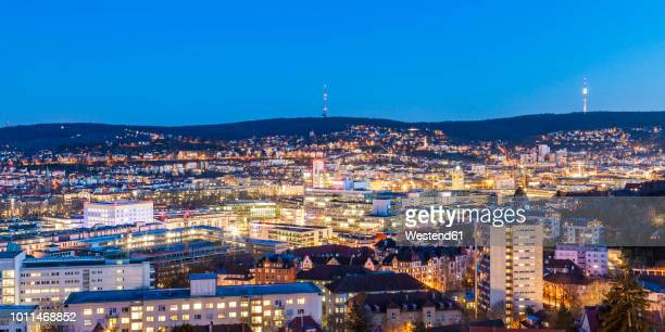 Germany, Stuttgart, panoramic cityscape with TV tower in the evening, blue hour