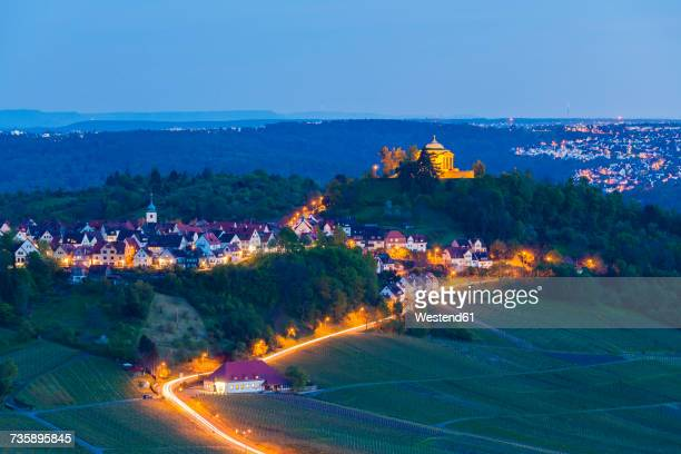 Germany, Stuttgart, view to lighted Wurttemberg Mausoleum with vineyards in the foreground