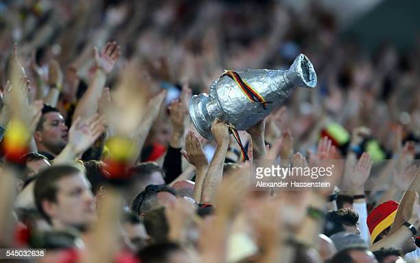 Germany supporters cheer during the UEFA EURO 2016 quarter final match between Germany and Italy at Stade Matmut Atlantique on July 2, 2016 in...