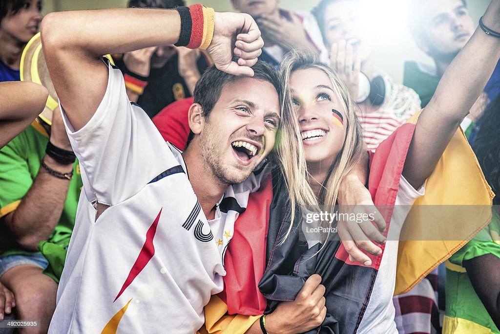 Germany supporters in the stadium : Stock Photo