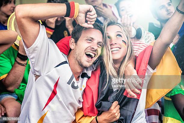 germany supporters in the stadium - tyskland bildbanksfoton och bilder