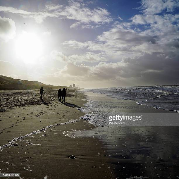 Germany, Sylt, Westerland, walkers on the beach in winter at low tide