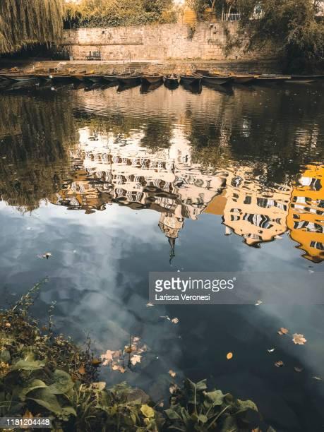 germany, tübingen, reflection of the neckarfront in the river neckar, autumn - larissa veronesi stock-fotos und bilder