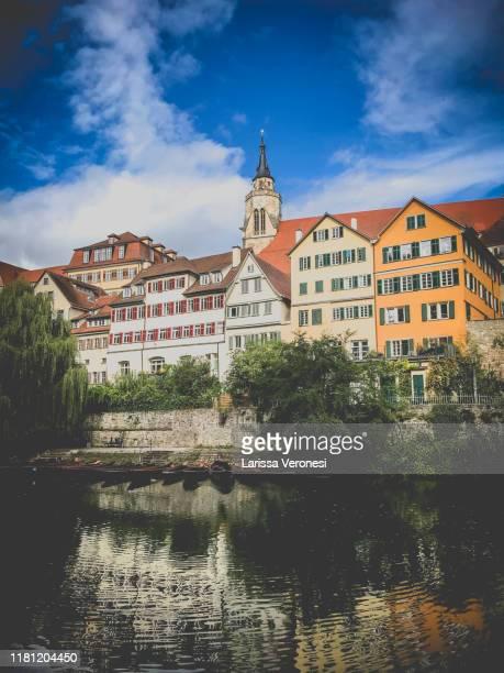 germany, tübingen, stiftskirche with neckarfront - larissa veronesi stock-fotos und bilder