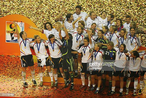 Germany team celebrate after they won the Women's World Cup 2007 final between Germany and Brazil at Shanghai Hongkou Football Stadium on September...
