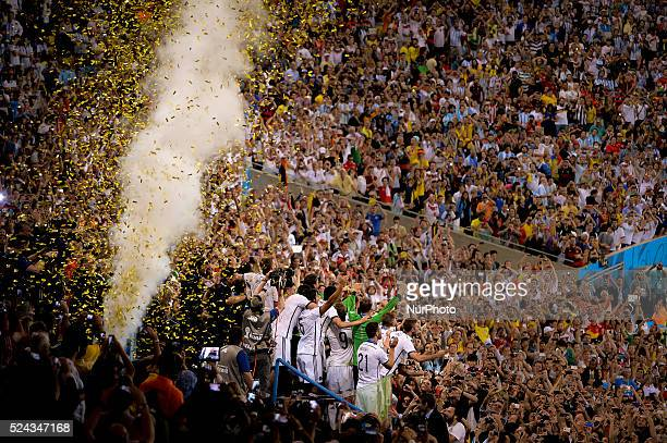 Germany team celebration in match between Germany and Argentina corresponding to the 2014 World Cup final played at the Maracana Stadium July 13 2014