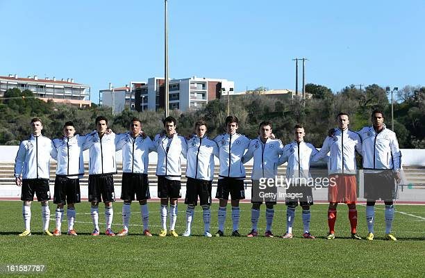 Germany team during the national Anthem during the Under17 Algarve Youth Cup match between U17 England and U17 Germany at the Estadio Municipal de...