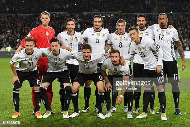 Germany team line up for photos during the FIFA 2018 World Cup Qualifier between Germany and Northern Ireland at HDIArena on October 11 2016 in...