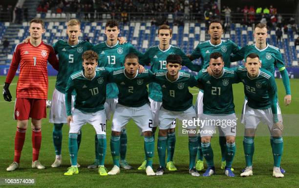 Germany team line up prior to the International friendly match between Italy U21 and Germany U21 on November 19 2018 in Reggio nell'Emilia Italy
