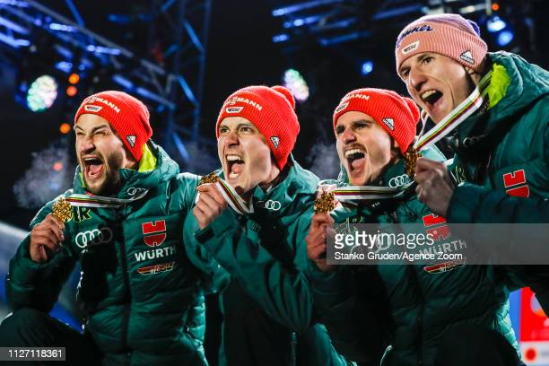 Germany Team takes 1st place during the FIS Nordic World Ski Championships Men's Team Ski Jumping HS130 on February 24 2019 in Seefeld Austria