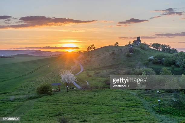 germany, thale, weddersleben, devil's wall in the evening - saxony anhalt stock pictures, royalty-free photos & images