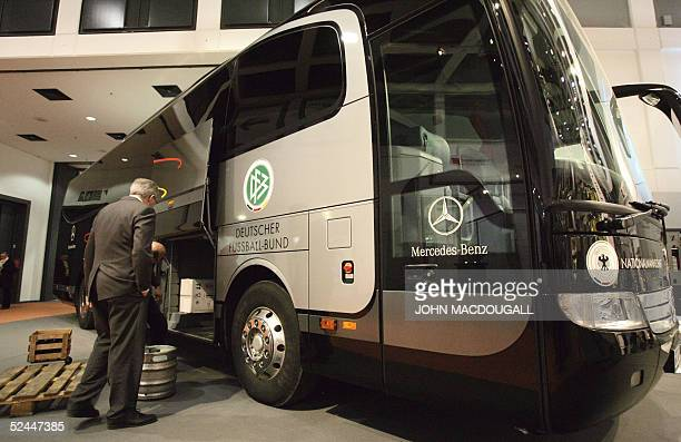 The bus that will be used by the German national football team during the 2006 Football World Cup is presented at Berlin's International Tourism Fair...