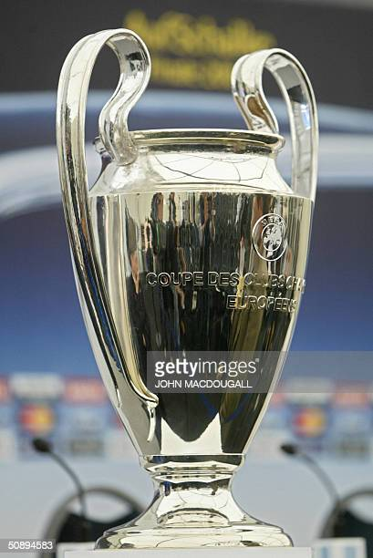 Germany: The Champions' League trophy is displayed, 25 May 2004 at the press center of the the Arena AufSchalke stadium in the western town of...