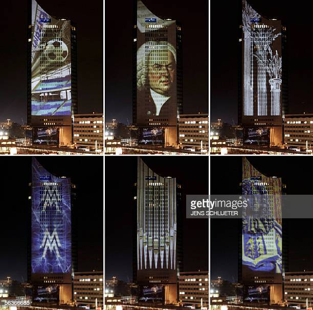 The combo of pictures taken on 07 December 2005 shows different light projections on Leipzig's Cityhochhaus building: Leipzig's Zentralstadion...