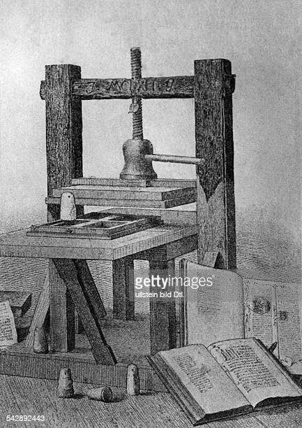 Germany the first flypress printing press invented by Johannes Gutenberg for letterpress printing around 1442