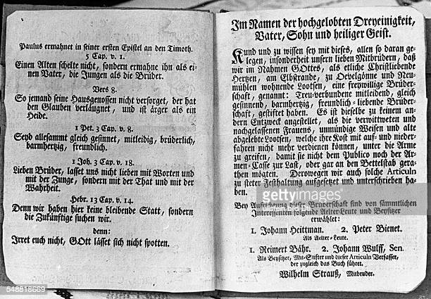 Germany The front page of the charter of the pilots brotherhood of OevelgoenneNeumuehlen and Hamburg founded in 1745 1933 Photographer Kurt...