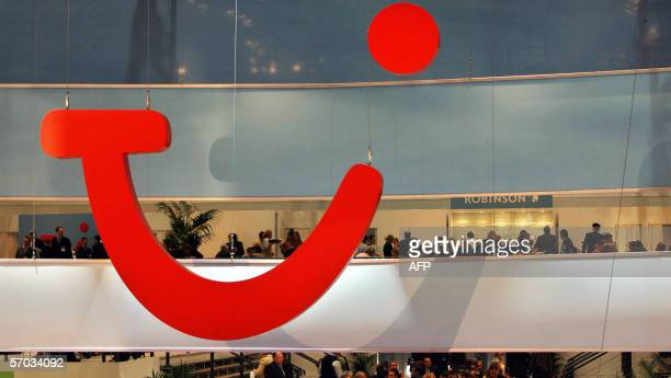 """The logo of Europe's leading travel group TUI is seen 09 March 2006 at the company's booth on the """"Internationale Tourismus Boerse"""" fair in Berlin...."""