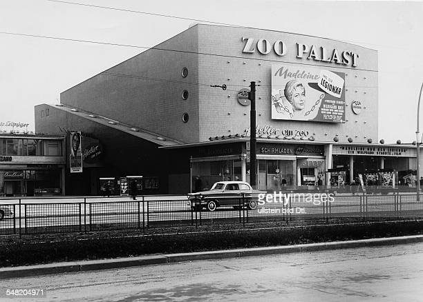 Germany The movies in the post war era Zoo Palace movie theatar Berlin exterior view with a movie poster of 'Madeleine und der Legionaer' 1958...