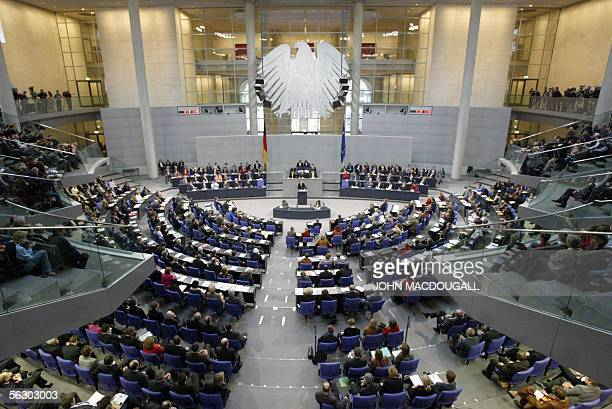 The plenum of the Bundestag is seen as Angela Merkel of the Christian Democratic Union gives her first speech to parliament as German Chancellor on...