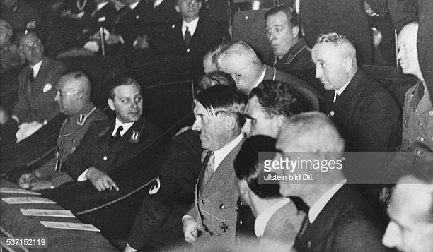 Germany Third Reich Adolf Hitler Politician Nazi Party Germany Adolf Hitler at the premiere of Leni Riefenstahl's film 'The victory of faith' in...