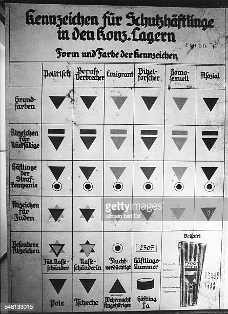 Germany Third Reich Board explaining different badges or marks for respective groups of prisoners in concentration camps undated Vintage property of...