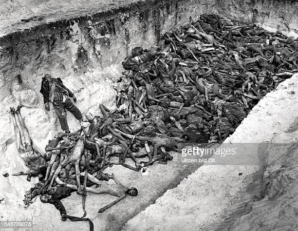 Germany Third Reich concentration camps 193945 dead bodies of inmates in a mass grave after the liberation of BergenBelsen concentration camp by...