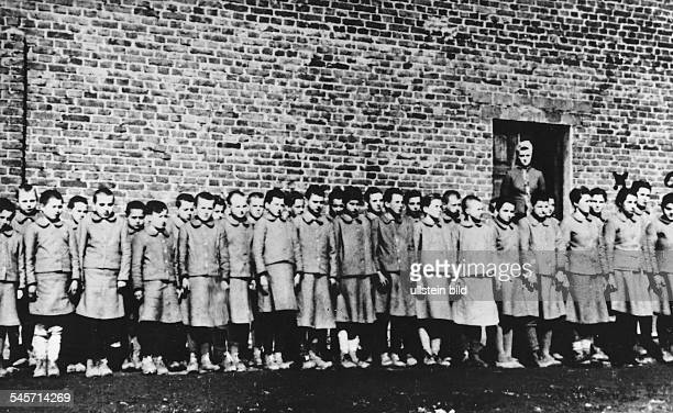 Germany Third Reich concentration camps 193945 Roll call at the children's camp in Lodz part of the Auschwitz concentration camp