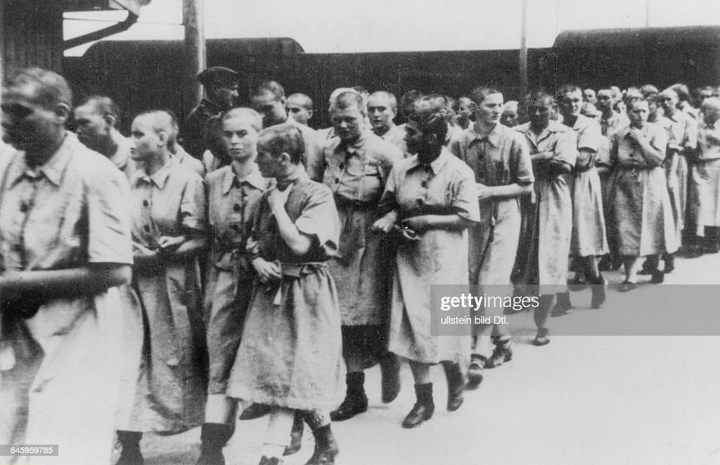 Germany, Third Reich - concentration camps 1939-45 Women at the train station ramp of Auschwitz concentration camp - around 1944 : News Photo