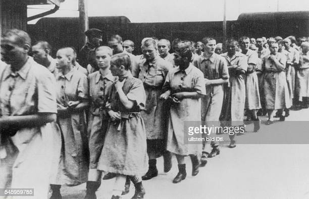 Germany Third Reich concentration camps 193945 Women at the train station ramp of Auschwitz concentration camp around 1944