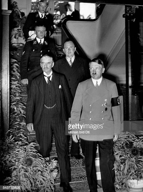 Germany Third Reich Negotiations during the Munich Conference 1938 in the Hotel 'Dreesen' in Bad Godesberg from the left British Prime Minister...