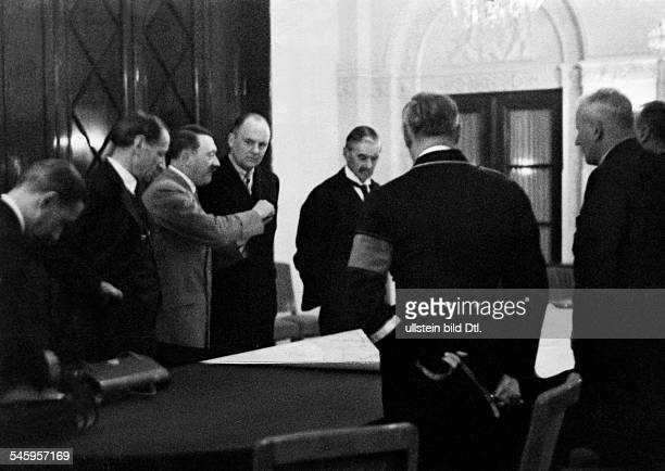 Germany Third Reich Negotiations during the Munich Conference 1938 in the Hotel 'Dreesen' in Bad Godesberg British Prime Minister Neville Chamberlain...