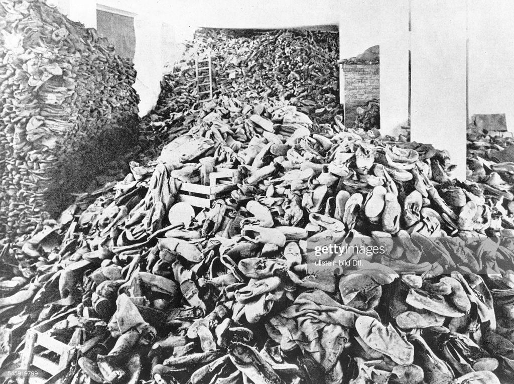 Germany. Third Reich. NS era. Persecution of Jews. Holocaust. Probably Concentration Camp of Treblinka or Belzec. Piled up shoes of murdered prisoners (location not verified, presumably Treblinka, : News Photo
