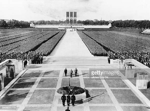 Germany Third Reich Nuremberg Rally 1933 Nazi leaders commemorating those who fell for the movement during a mass rally of the SS and SA