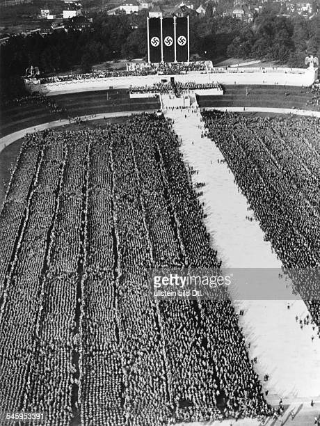 Germany Third Reich Nuremberg Rally 1934 Rally of the SA and SS at the rally ground Photographer PresseIllustrationen Heinrich HoffmannVintage...